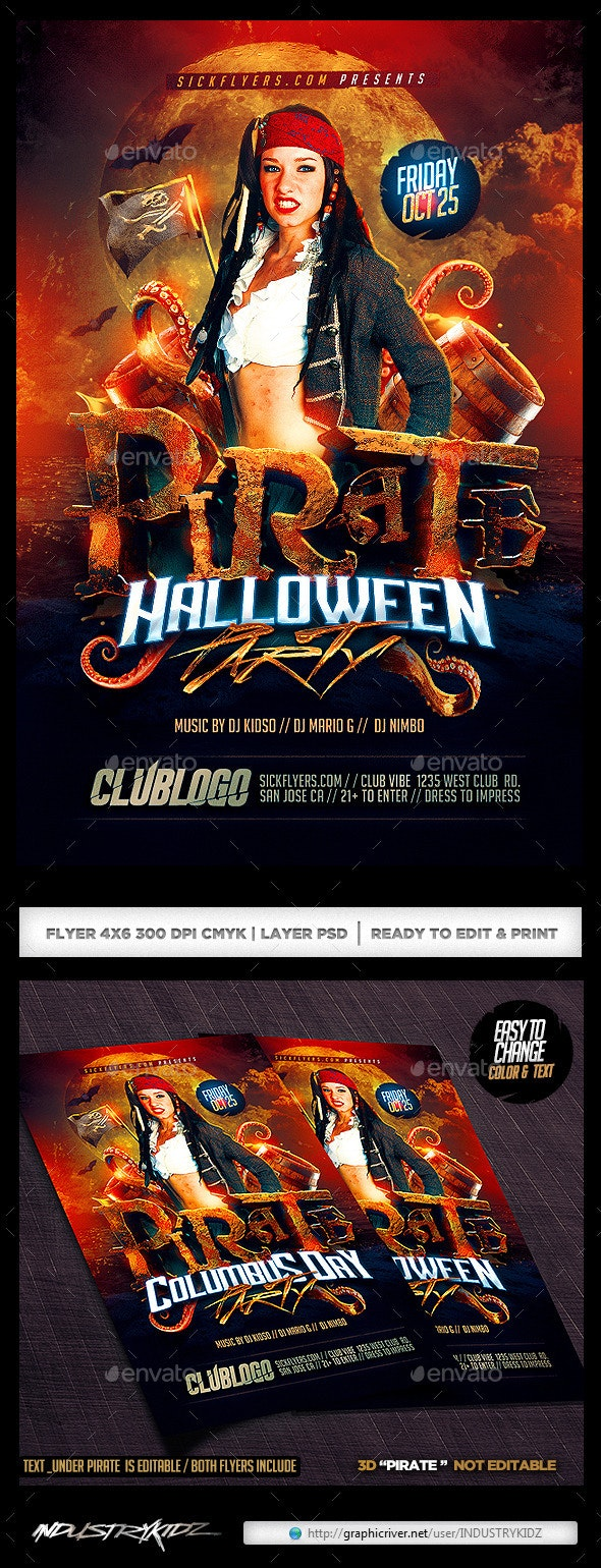 Pirate Party Flyer Template  - Clubs & Parties Events