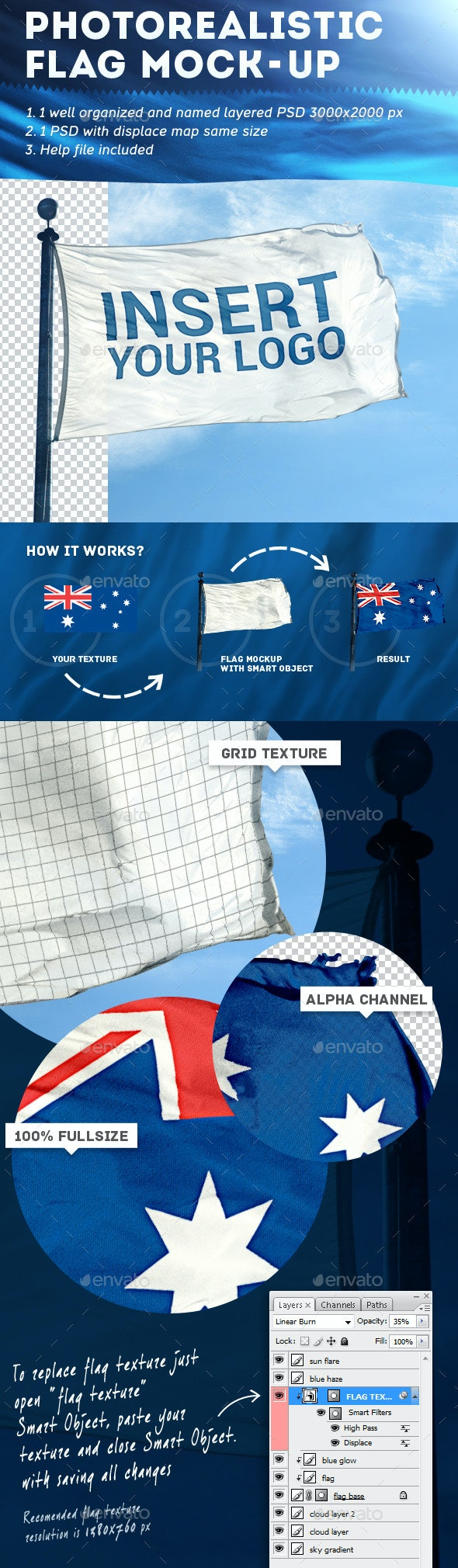 Photorealistic Flag Mock-Up - Miscellaneous Print