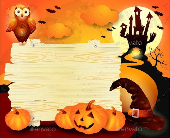 Halloween Background with Sign, in Orange - Halloween Seasons/Holidays