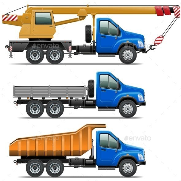 Vector Lorry Icons Set 3