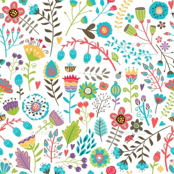 Seamless Pattern with Flowers - Flowers & Plants Nature