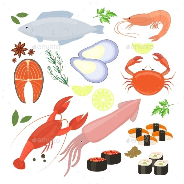 Selection of Seafood Shrimp and Sushi Icons - Organic Objects Objects