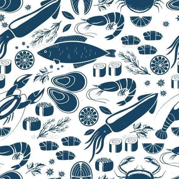 Fish Sushi and Seafood Background - Backgrounds Decorative