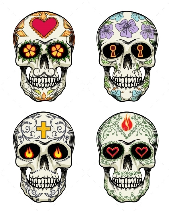 Skulls with Flowers - Miscellaneous Vectors