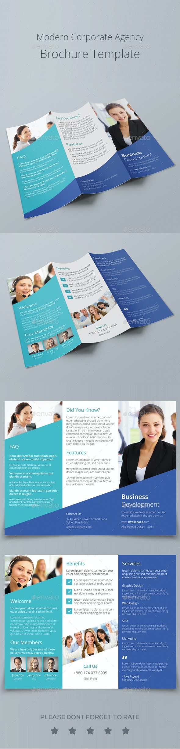 Modern Corporate Agency Tri Fold Brochure - Corporate Brochures
