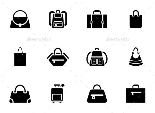 Assortment of Black Baggage Icons - Miscellaneous Vectors
