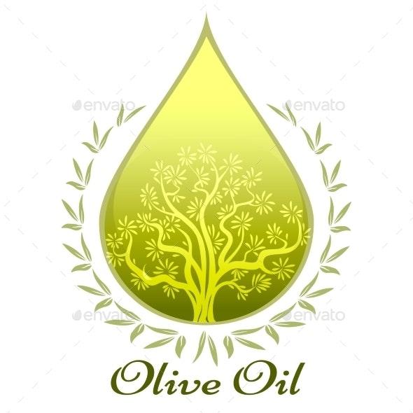 Olive Oil Label or Emblem - Food Objects