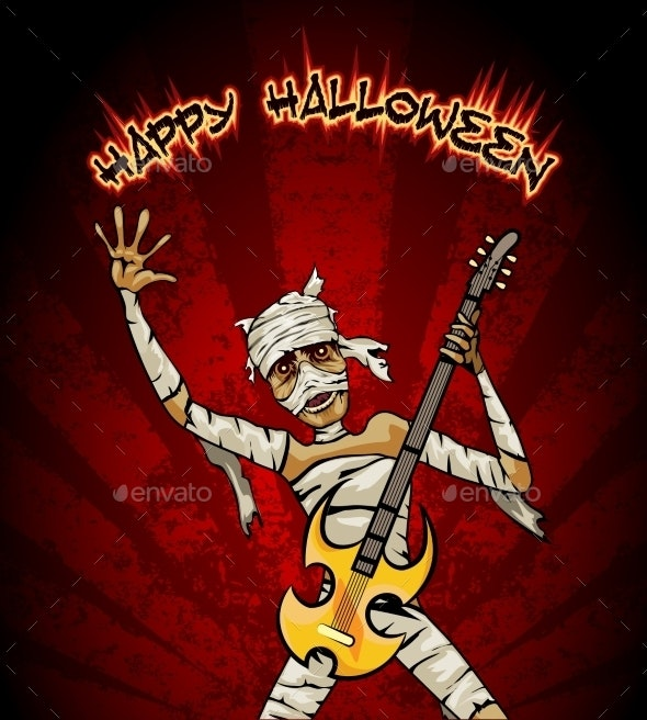 Halloween Graphic with Mummy Playing Guitar - Miscellaneous Vectors