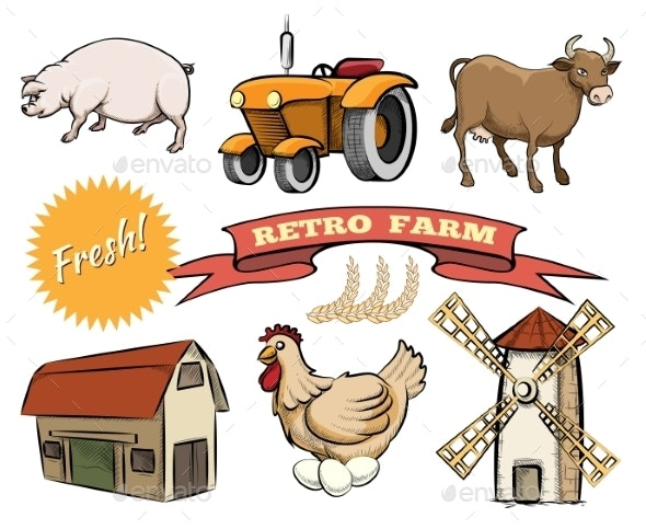 Set of Retro Farm Vector Icons - Miscellaneous Vectors