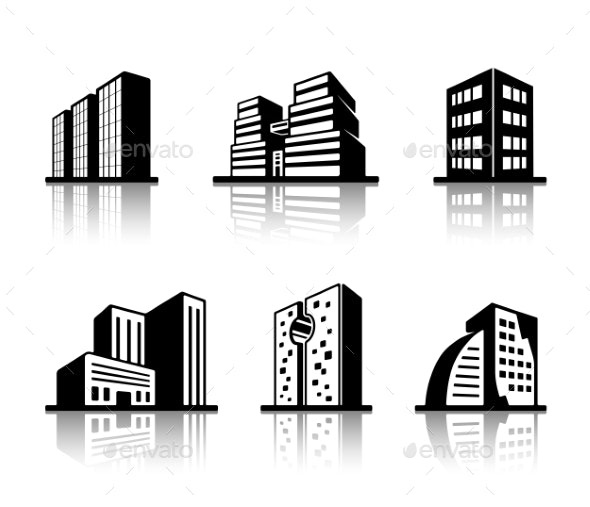 Set of Black and White Building Icons - Buildings Objects