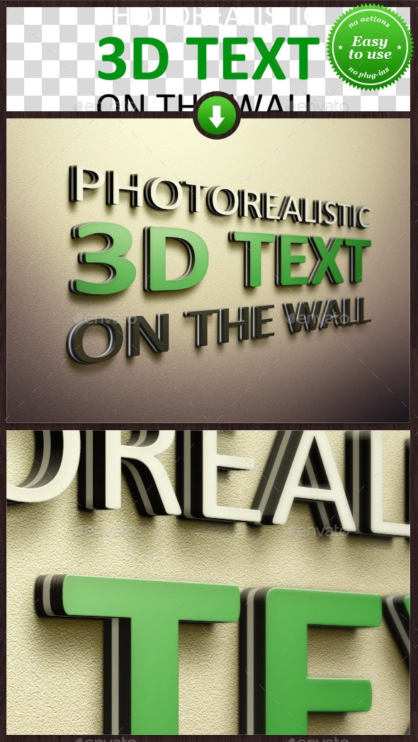 Realistic 3D Text on the Wall Mockup