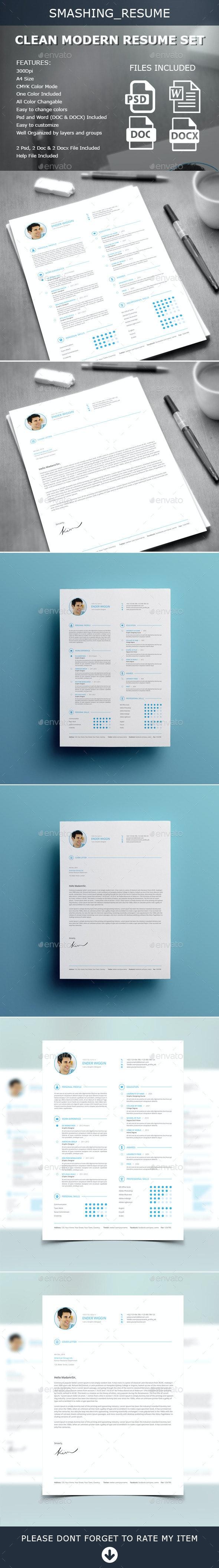 Clean Modern Resume Set - Resumes Stationery
