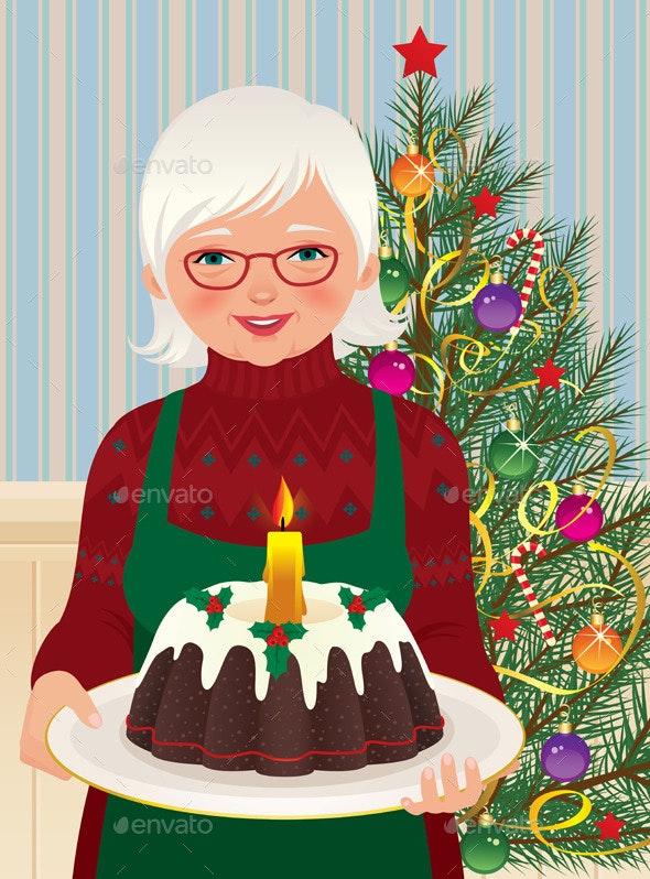 Grandmother and Christmas Cake - Christmas Seasons/Holidays