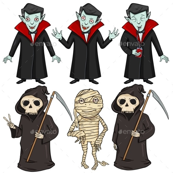 Vector Set of Halloween Characters  - Miscellaneous Vectors