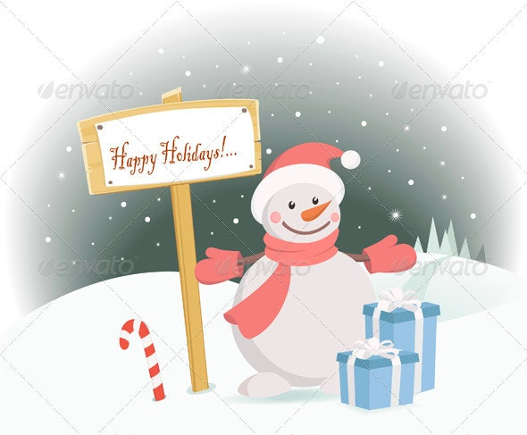 Snowman Happy Holidays - New Year Seasons/Holidays