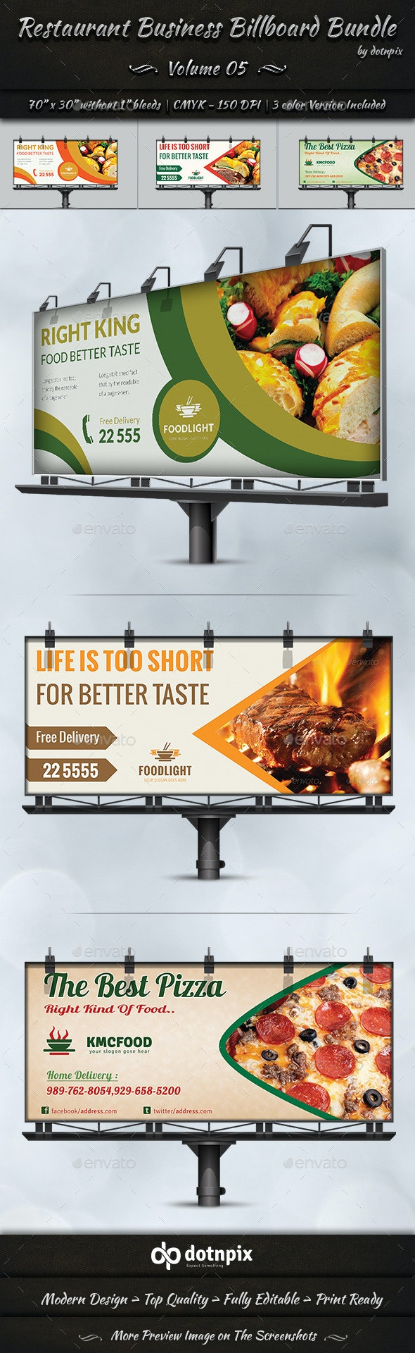 Restaurant Business Billboard Bundle | Volume 5 - Signage Print Templates