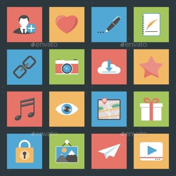 Socia Media Web Flat Icons Set - Web Elements Vectors