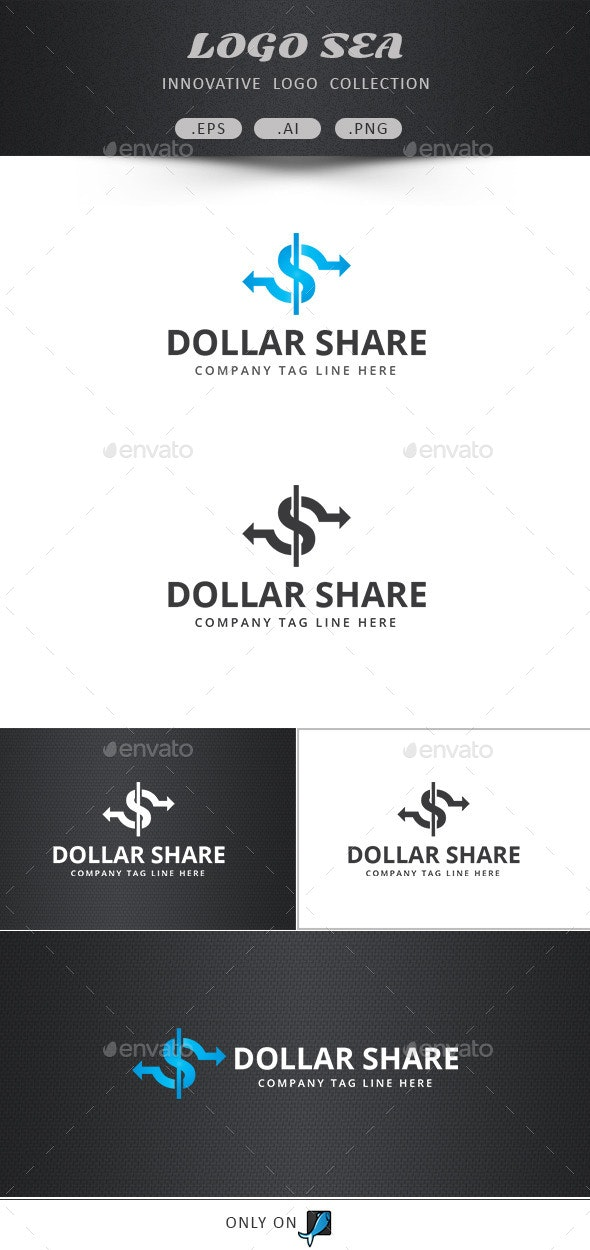 Dollar Share Vector Logo  - Symbols Logo Templates