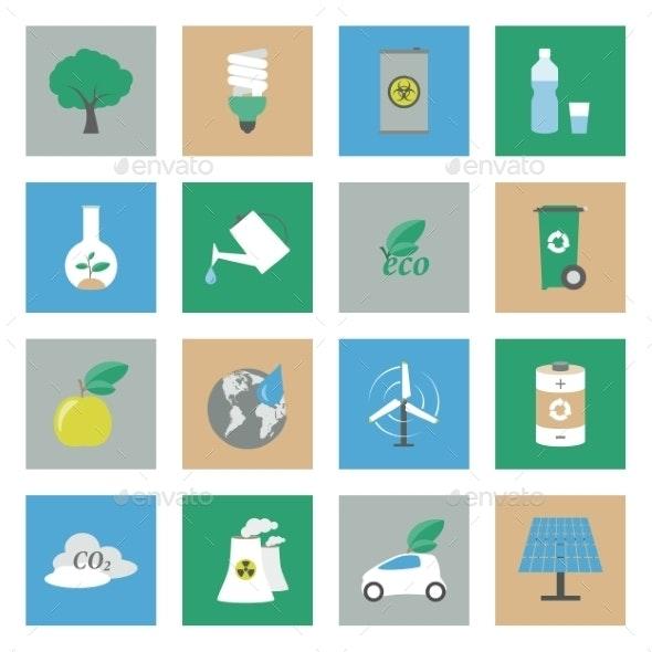 Ecology Flat Icons Set - Web Elements Vectors