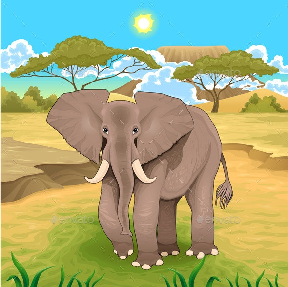 African Landscape with Elephant - Animals Characters