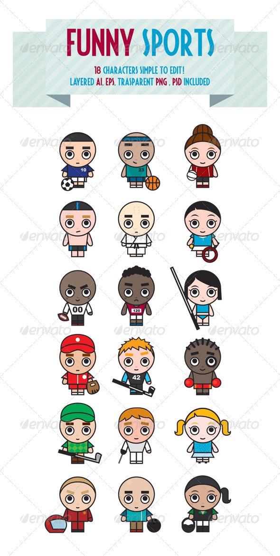 Funny Sports - Characters Vectors