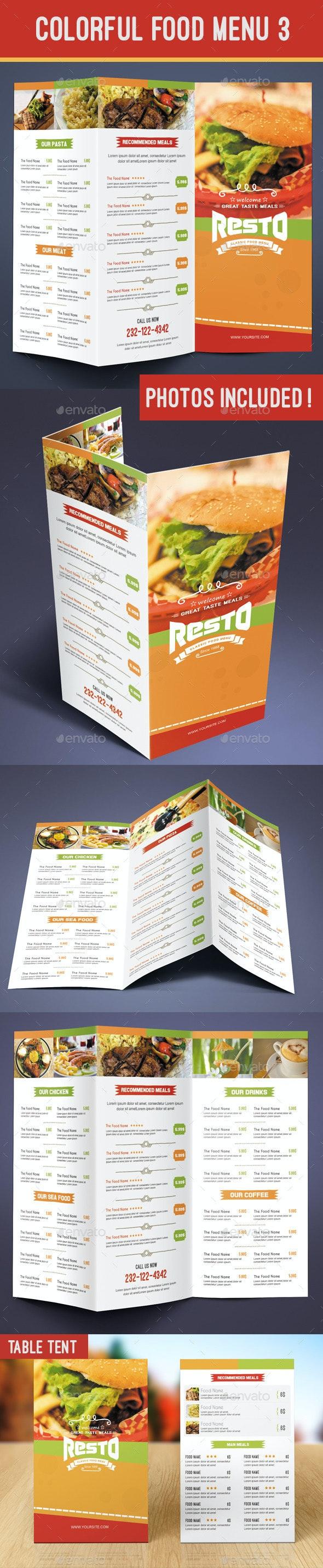 Colorful Food Menu 3 - table tent - Food Menus Print Templates