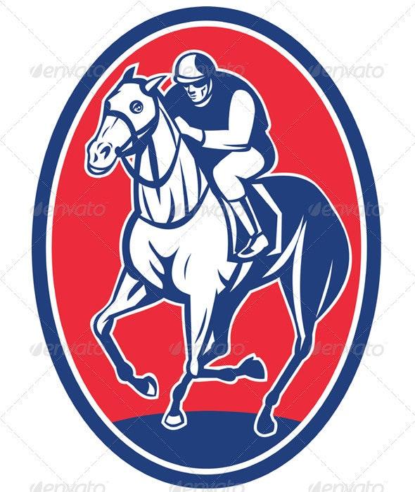 Jockey Riding Horse Racing Retro Style - Sports/Activity Conceptual