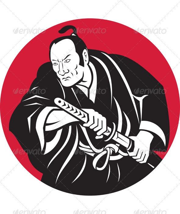 Samurai Warrior With Katana Sword - People Characters