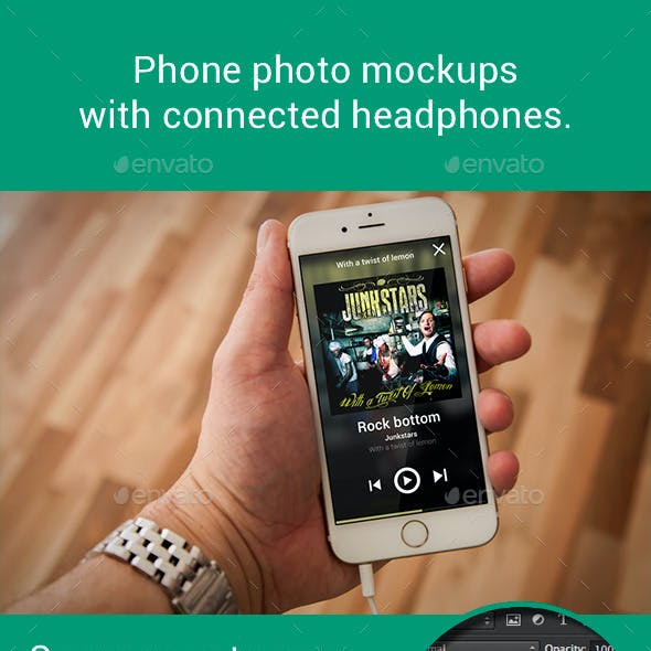 Phone 6 Photo Mockups With Connected Headphones