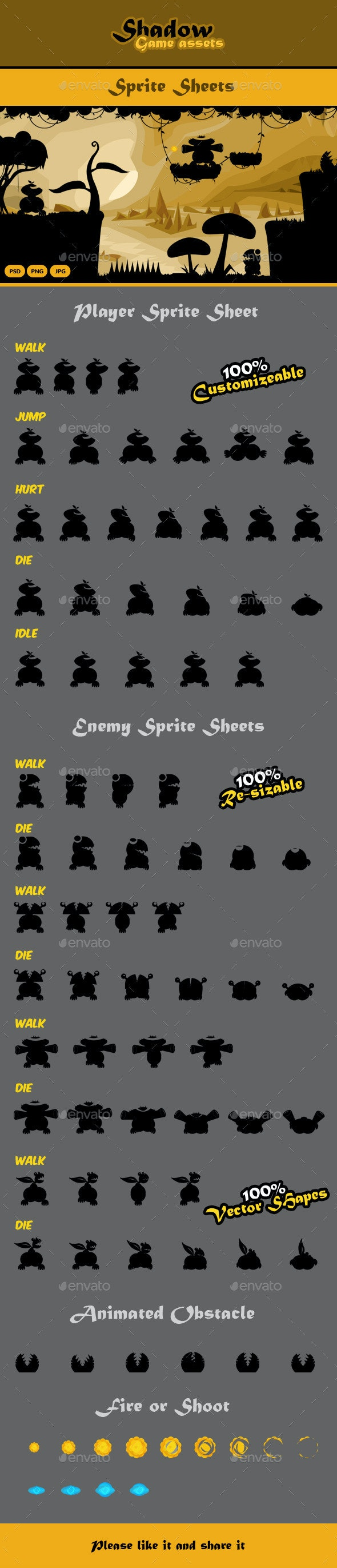 Shadow Game Assets: Sprite Sheets - Sprites Game Assets