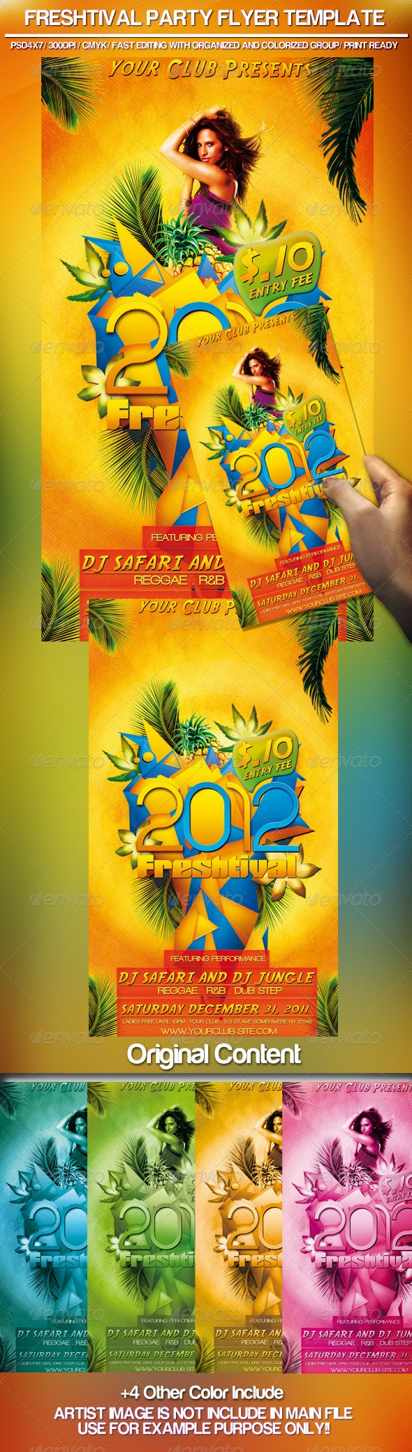 2012 Freshtival Party Flyer Template  - Clubs & Parties Events
