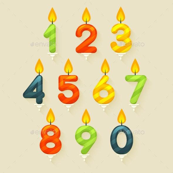 Set of Colored Glossy Birthday Cake Candles - Birthdays Seasons/Holidays