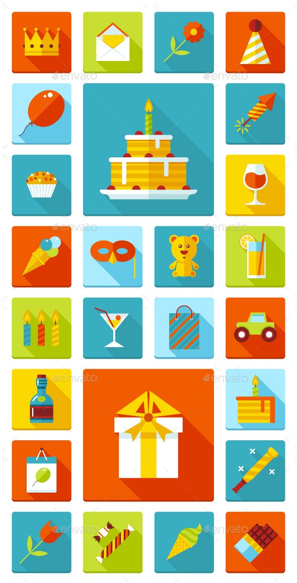 Set of 26 Flat Vector Birthday Party Icons - Birthdays Seasons/Holidays