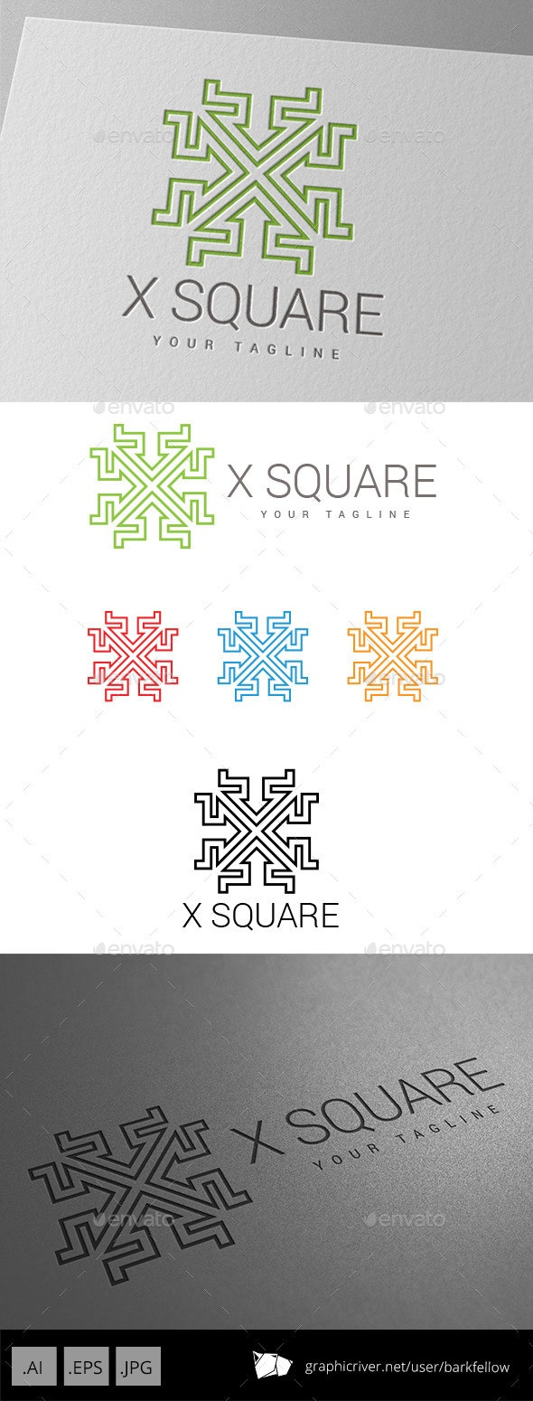 X Square Techno Logo - Crests Logo Templates