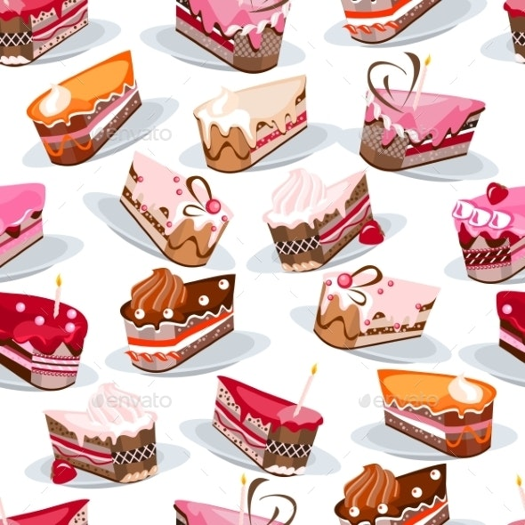 Seamless Pattern with Cake Slices - Birthdays Seasons/Holidays