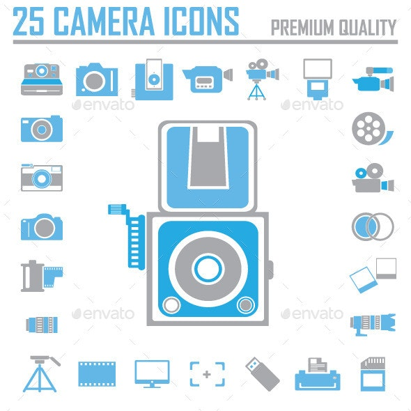 Camera and Video Icons Set  - Media Technology