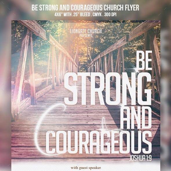 Be Strong and Courageous Church Flyer