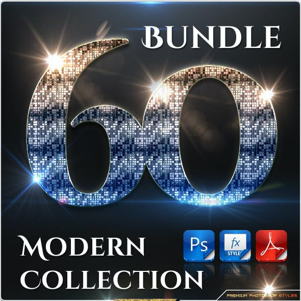 60 Modern Collection Text Effect Styles Bundle