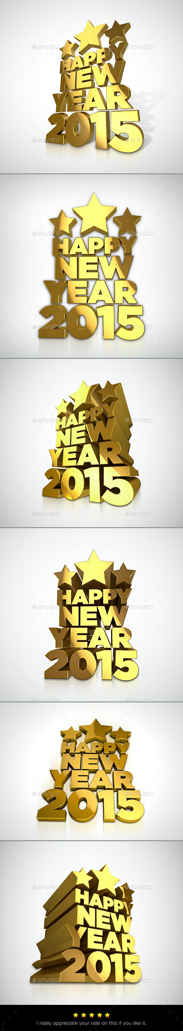 Happy New Year 2015 - 3D Backgrounds