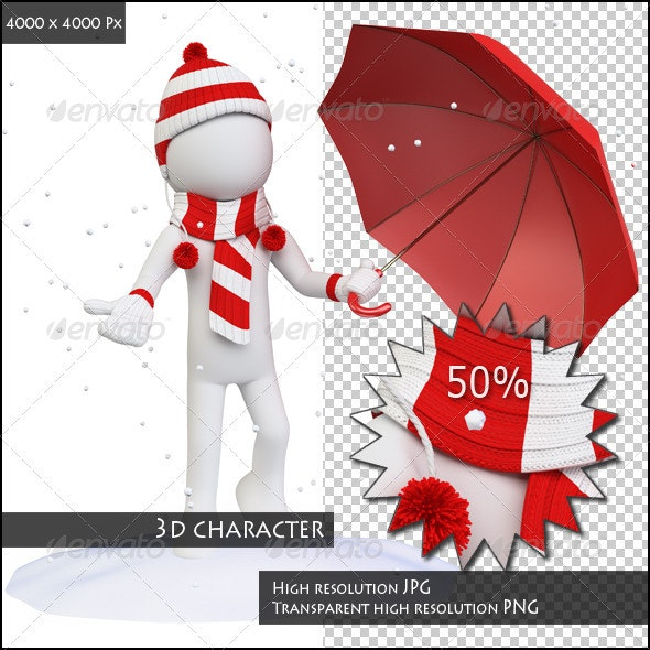 Seasons. Winter. Man in the Snow with an Umbrella - Characters 3D Renders