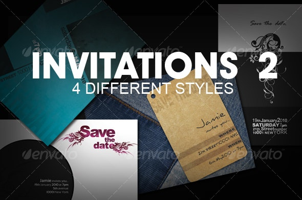 Invitations (4 styles)  PART 2 - Invitations Cards & Invites