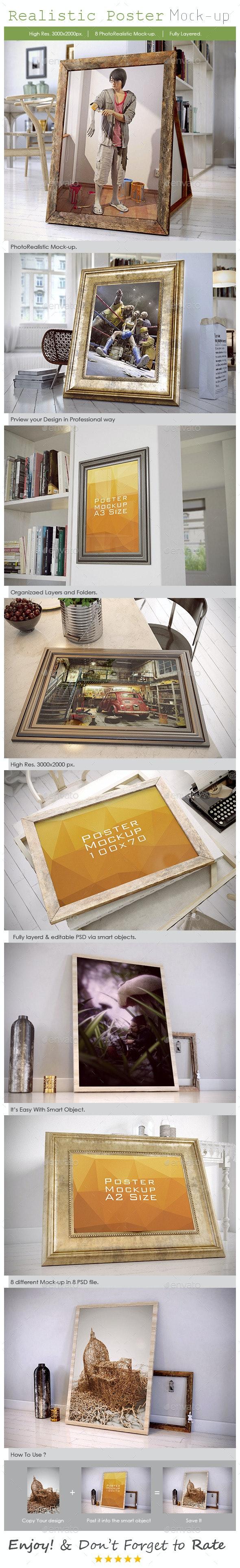 Realistic Poster Mockup - Posters Print