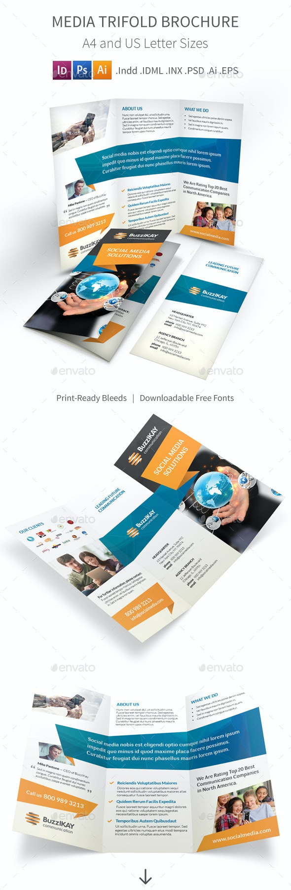 Media and Communication Trifold Brochure - Informational Brochures