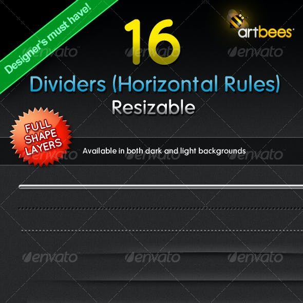 16 Dividers (Horizontal Rules) - Resizable