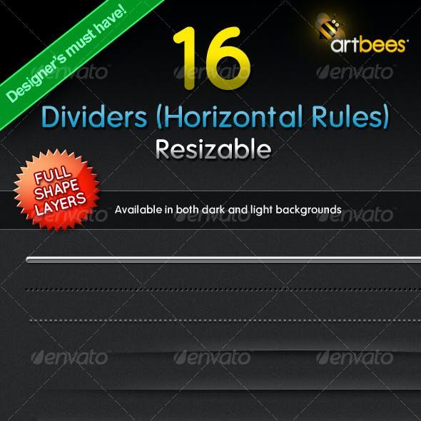 16 Dividers (Horizontal Rules) - Resizable