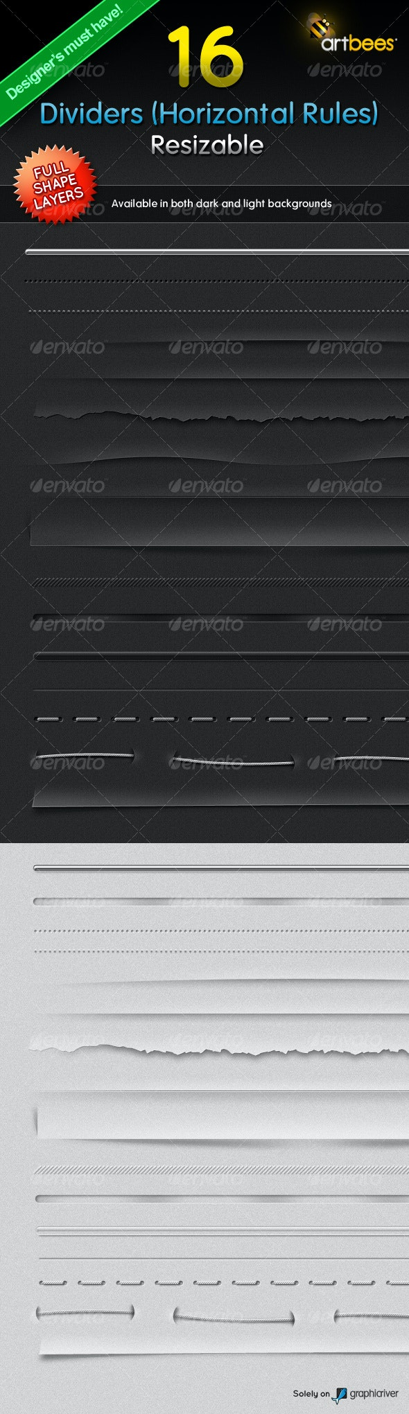 16 Dividers (Horizontal Rules) - Resizable - Miscellaneous Web Elements