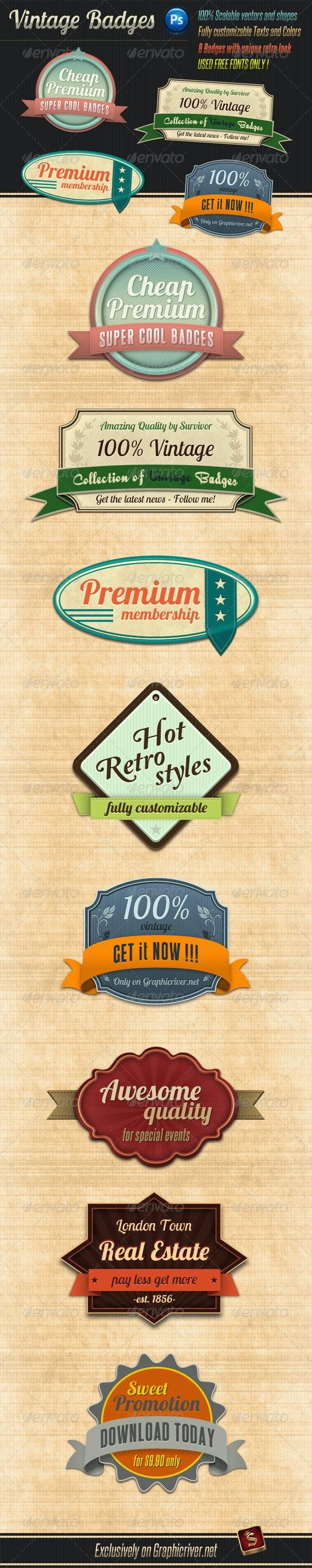 Retro Vintage Badges - Badges & Stickers Web Elements