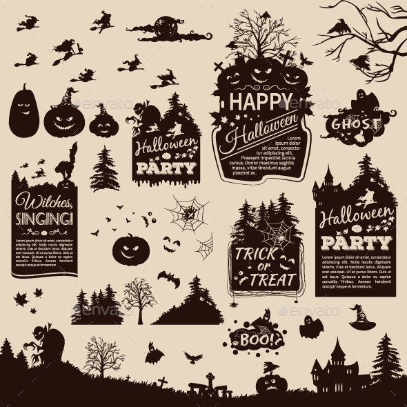 Collection of Silhouettes and Banners for Halloween - Halloween Seasons/Holidays