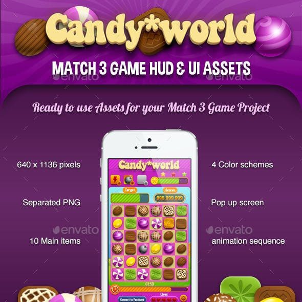 Candy World - Match 3 Game - Kits and GUI Assets