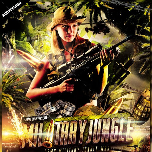 Army Military Jungle Theme Flyer Template
